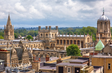 Christ Church as seen from the top of Carfax Tower. Oxford. England