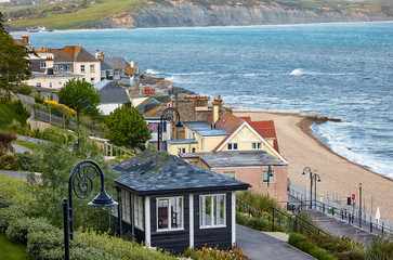 The beautiful view from the Seafront gardens to the seacoast of Lyme Regis. West Dorset. England