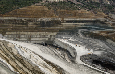Lignite opencast open pit mining, view from above top angle