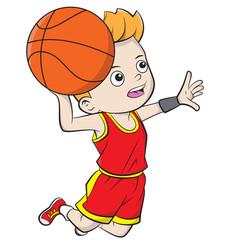 cartoon boy playing basketball