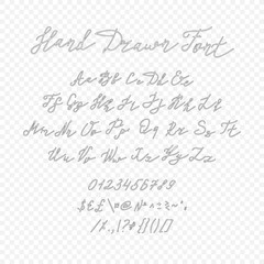 Vector Outline Handwritten Font Isolated on Light Transparent Background.
