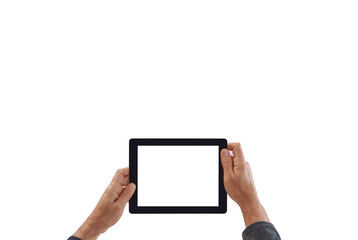 Man hand holding tablet, isolated white screen, white background. Man hand and finger style.