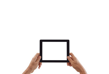 Man holds tablet, white screen and isolated background.