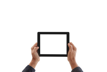 Man is holding tablet horizontal style, hand holding taking a photo, isolated screen white background.
