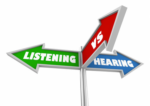Listening Vs Hearing Three 3 Way Street Signs 3d Illustration