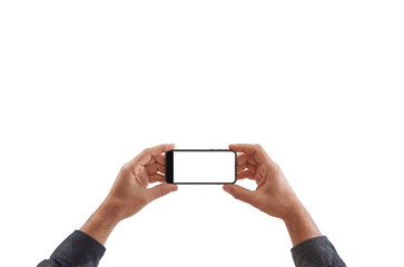 Man is holding a phone white background and isolated.