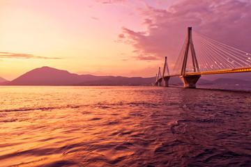 Greek sunset in Peloponnese, Rio Antirio bridge scenic view