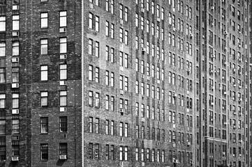 Fond de hotte en verre imprimé New York City Old bricks building facade, Manhattan, New York City, USA