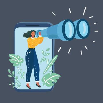 Woman with Binoculars in phone.