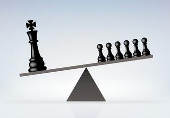Concept de la domination d'une monarchie sur son peuple avec le roi face à ses sujets, symbolisés par des échecs, faisant pencher une balance de son côté