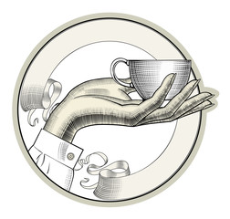Cup of coffee. Female hands with a coffee cup and spoon. Coffee concept. Vintage engraving stylized drawing. Vector illustration