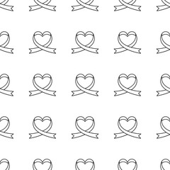 Vector seamless pattern of ribbons in the shape of heart. Symbol of fighting cancer. St. Valentine s Day, love