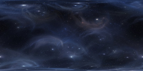 Interstellar cloud of gas and dust. Deep outer space background with stars. Space nebula. Panorama, environment 360 HDRI map. Equirectangular projection, spherical panorama