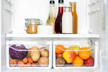 Vegetables and fruits in  refrigerator.