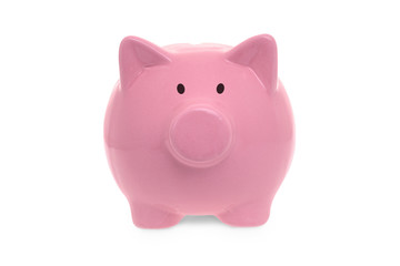 Ceramic pink piggy bank on white background