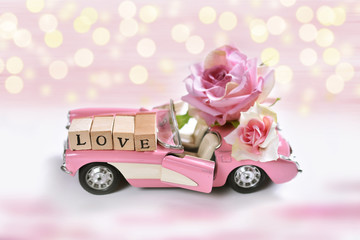 pink cabriolet toy car for valentines