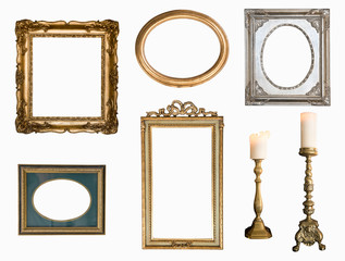 Vintage silver rectangular frames with an ornament isolated on white. Retro style.