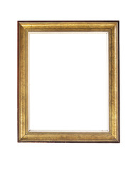 Vintage gilded rectangular frame with an ornament isolated on white. Retro style.