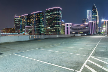 Empty car park in midtown of Hong Kong city at night Fototapete
