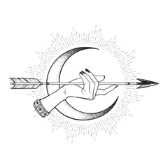 Arrow in female hand in front of the crescent moon line art and dot work. Boho sticker, print or blackwork flash tattoo art design vector illustration.