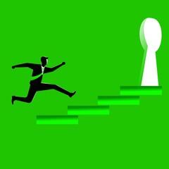 businessman running towards a key hole