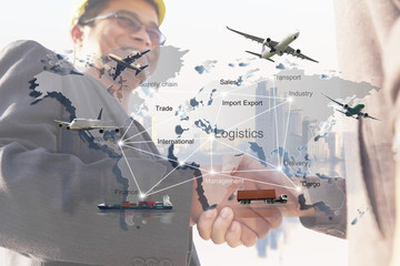 businessman is working with Transportation, import-export, logistic, shipping business management