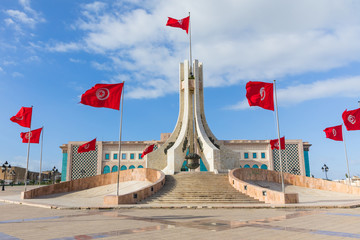 Public square of Tunis, national monument and city hall, Tunisia. Fototapete