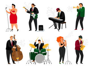 Jazz people. Singing girl with microphone and friendly piano player, brass saxophonist, guitarist musician and drummer performer, vector illustration