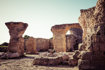 Aluminium Prints Ruins Ruins of the ancient Carthage city, Tunis, Tunisia, North Africa.