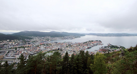 Aerial view of Bergen city from Mount Floyen, the  most known of the seven hills surrounding this Norwegian town.