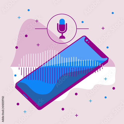 vector image of smartphone, with microphone icon, wave graph of