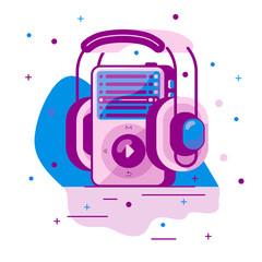 vector image of MP3 player with wireless headphones