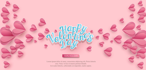 Vector Holiday Background for Valentine's Day. Pink hearts cut out of paper and text.