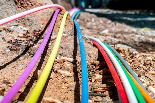 Closeup of internet cables