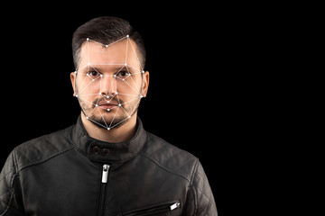 Male face, Biometric verification - face recognition. Technology of face recognition on polygonal grid is constructed by the points of IT security and protection. Face id, copy space