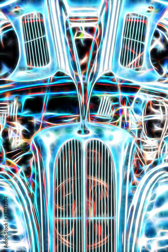 Wall mural brightly coloured vintage hot rod vehicle abstract
