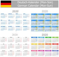 2020 German Mix Calendar Mon-Sun on white background