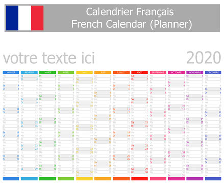 2020 French Planner Calendar with Vertical Months on white background