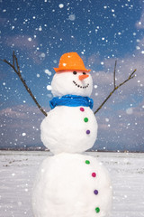 Cute smiling snowman against blue sky background with falling snowflakes, happy winter concept, vertical image