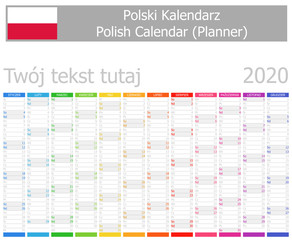 2020 Polish Planner Calendar with Vertical Months on white background