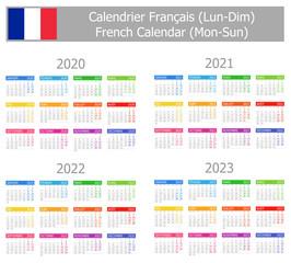2020-2023 French Type-1 Calendar Mon-Sun on white background