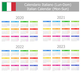 2020-2023 Italian Type-1 Calendar Mon-Sun on white background