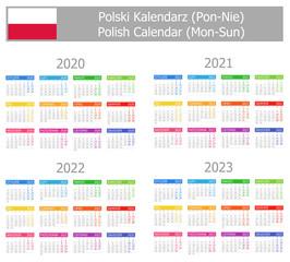 2020-2023 Polish Type-1 Calendar Mon-Sun on white background