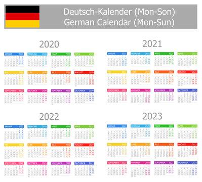 2020-2023 German Type-1 Calendar Mon-Sun on white background