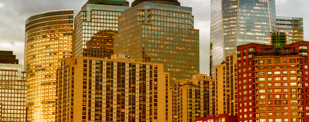 Detail of Manhattan buildings exterior at sunset, New York City