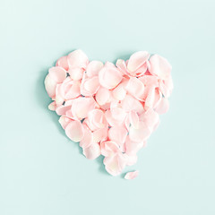 Flowers composition. Rose flower petals on pastel blue background. Valentine's Day, Mother's Day concept. Flat lay, top view, square