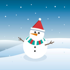 Cute vector illustration of a funny snowman in a Christmas cap on a background of falling snow.