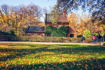 Cook's cottage in Fitzroy Gardens, at autumn