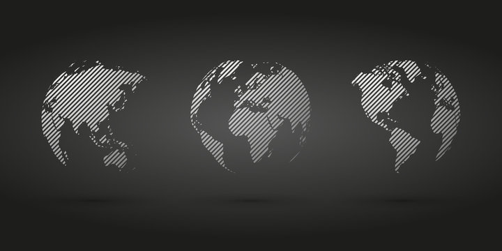 gray hatched globe simple icon on black background