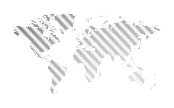 gray hatched map of the world